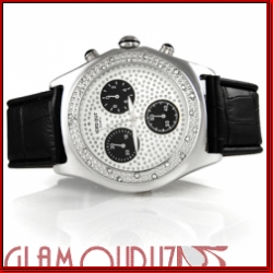 Iced Out Case 3 Chronograph Black Band Watch